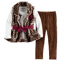 Girls 4-6x Little Lass Leopard Faux Fur Vest, Graphic Top & Leggings Set