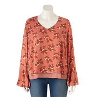 Plus Size LC Lauren Conrad Layered Bell-Sleeve Top