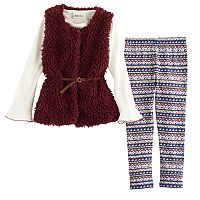 Girls 4-6x Little Lass Sweater Vest, Floral Tee & Leggings Set