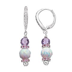 Adora Sterling Silver Amethyst & Simulated Opal Drop Earrings