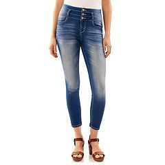 Juniors' Wallflower High Waist Stacked Ankle Skinny Jeans