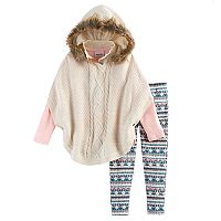 Girls 4-6x Little Lass Poncho Sweater,