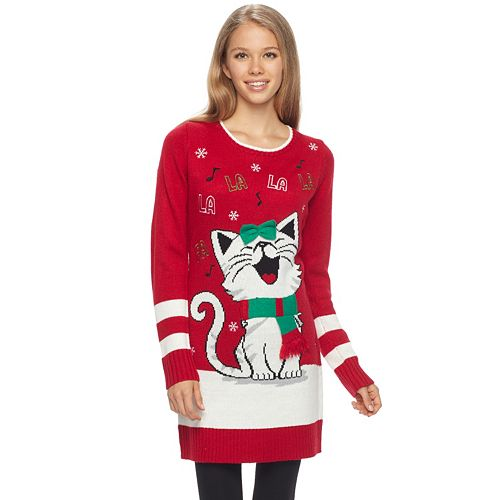 "Juniors' It's Our Time ""Fa La La"" Kitty Christmas Tunic"
