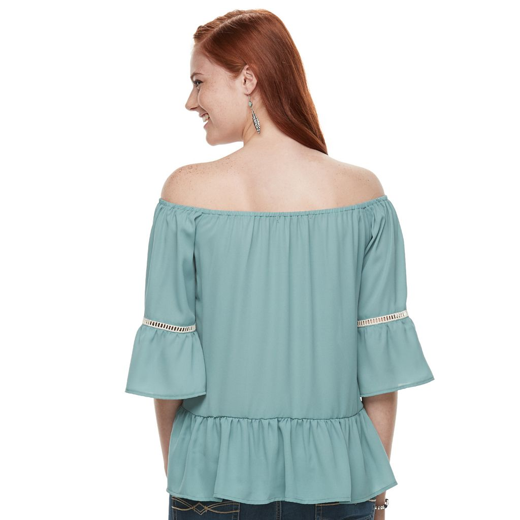Juniors' Liberty Love Off-the-Shoulder Bell Sleeve Top