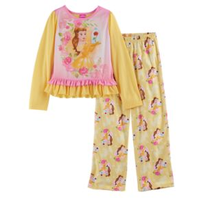 Disney's Beauty and the Beast Belle Girls 4-8 Ruffle Hem Top & Bottoms Pajama Set