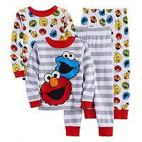 Toddler Boy Sesame Street 4 pc Elmo & Cookie Monster Pajama Set