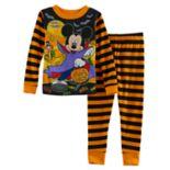 Disney's Mickey Mouse Toddler Boy Striped Halloween Glow in the Dark Top & Pants Pajama Set