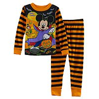 Disney's Mickey Mouse Toddler Boy Striped Halloween Glow in the Dark Top & Pants Pajama Set
