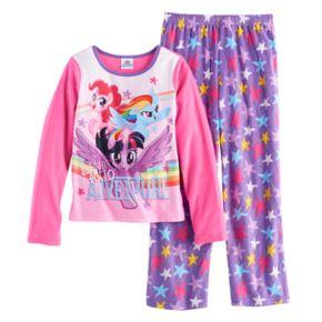 "Girls 4-8 My Little Pony Rainbow Dash, Pinkie Pie & Twilight Sparkle ""Hello Adventure"" Tee & Bottoms Pajama Set"