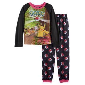 Girls 4-10 Pokemon Pikachu, Eevee & Jigglypuff Top & Pokeball Bottoms Pajama Set