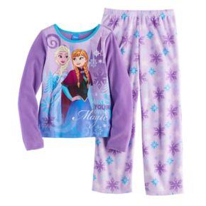 "Disney's Frozen Elsa & Anna ""Make Your Own Magic"" Girls 4-10 Fleece Tee & Bottoms Pajama Set"