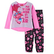 DreamWorks Trolls Poppy Girls 4-10 'Put Your Hair in the Air' Top & Bottoms Pajama Set