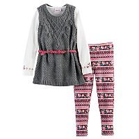 Girls 4-6x Little Lass Sparkle Sweater Vest, Tee & Leggings Set