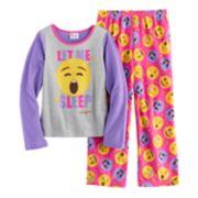 """Girls 4-10 Emoji """"Let Me Sleep"""" Tee & Bottoms Pajama Set"""