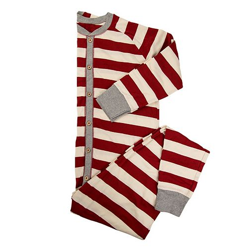 d53810448 Men s Burt s Bees Organic Holiday Rugby Stripe One-Piece Family Pajamas
