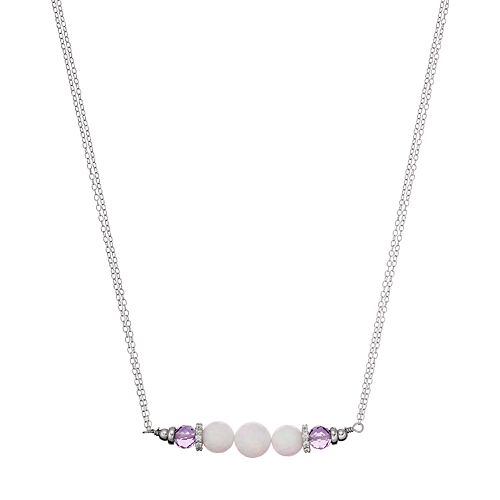 Adora Sterling Silver Simulated Opal & Amethyst Bead Necklace