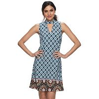 Women's Indication Printed Choker Neck Shift Dress