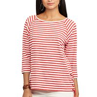 Petite Chaps Striped Lace-Up Pullover