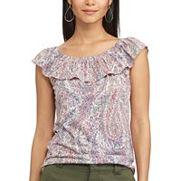 Petite Chaps Printed Off-the-Shoulder Top