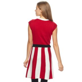 Juniors' It's Our Time Peppermint Stripe Christmas Dress