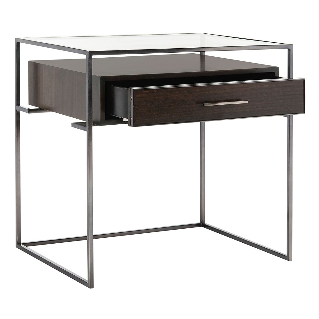 Safavieh Couture Glass Top Storage End Table