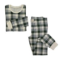 Women's Burt's Bees Organic Holiday Buffalo Plaid Top & Pants Family Pajama Set