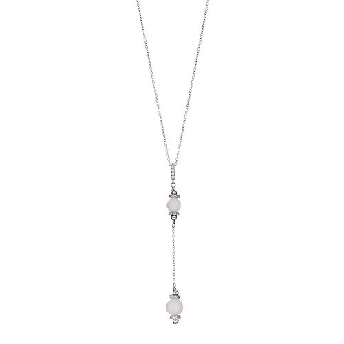 Adora Sterling Silver Simulated Opal Bead & Cubic Zirconia Y Necklace