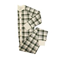 Men's Burt's Bees Organic Holiday Buffalo Plaid One-Piece Family Pajamas