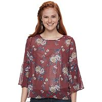 Juniors' Rewind Crochet Back Bell Sleeve Top
