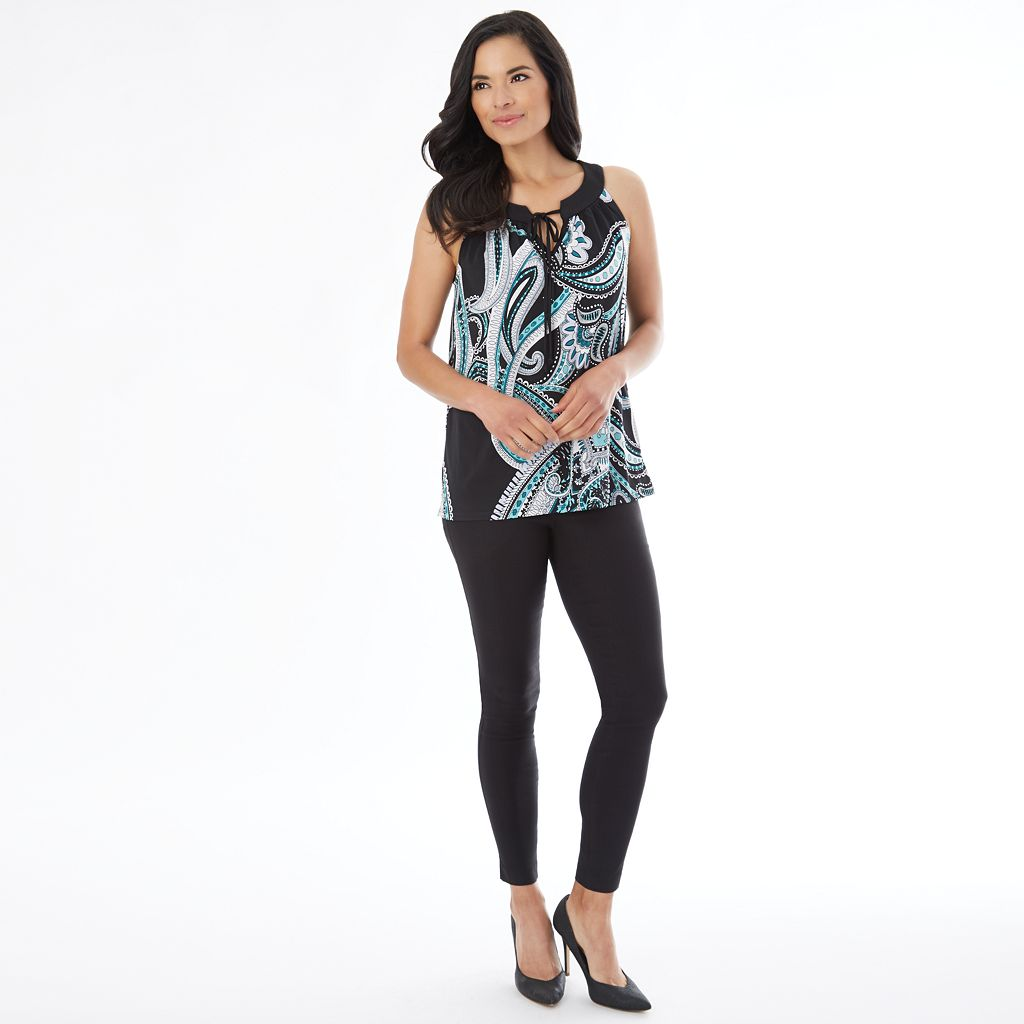 Women's AB Studio Print Tie-Accent Tank