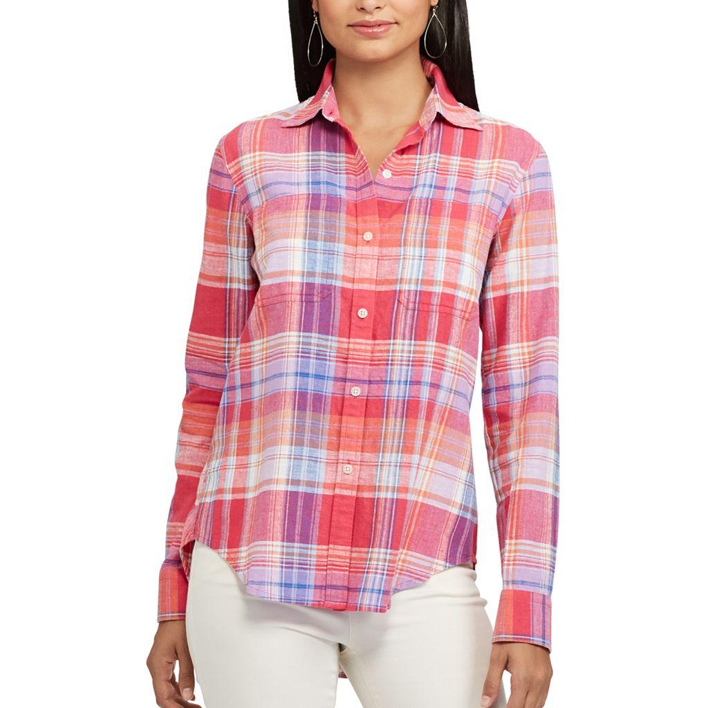 Petite Chaps Plaid Twill Shirt