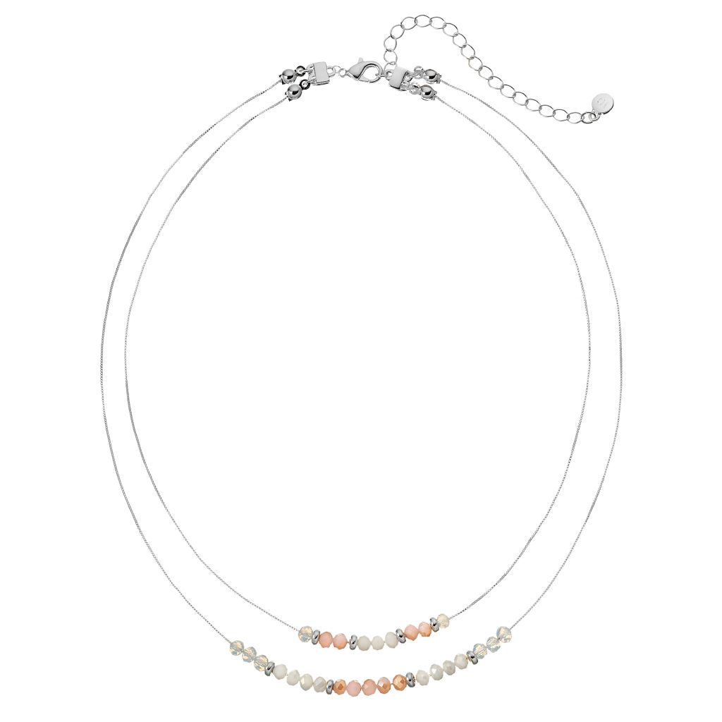 LC Lauren Conrad Brown Beaded Double Strand Necklace