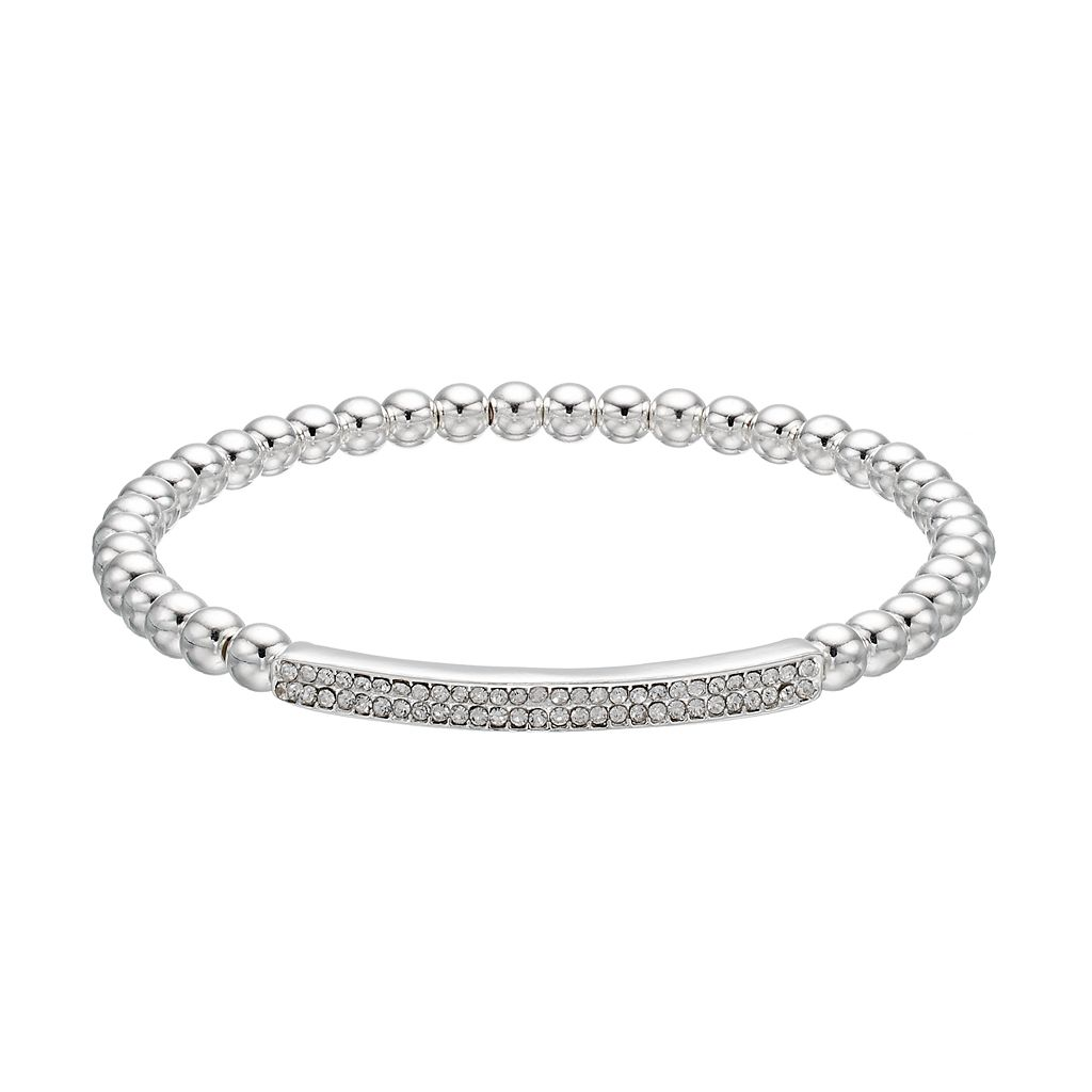 Chaps Beaded Pave Curved Bar Stretch Bracelet