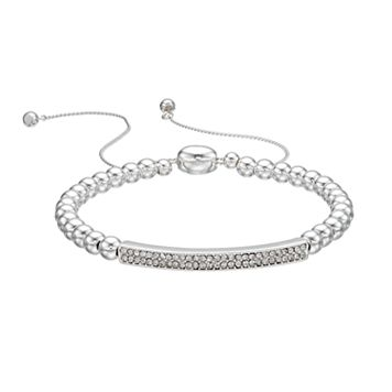 Chaps Beaded Pave Curved Bar Bracelet