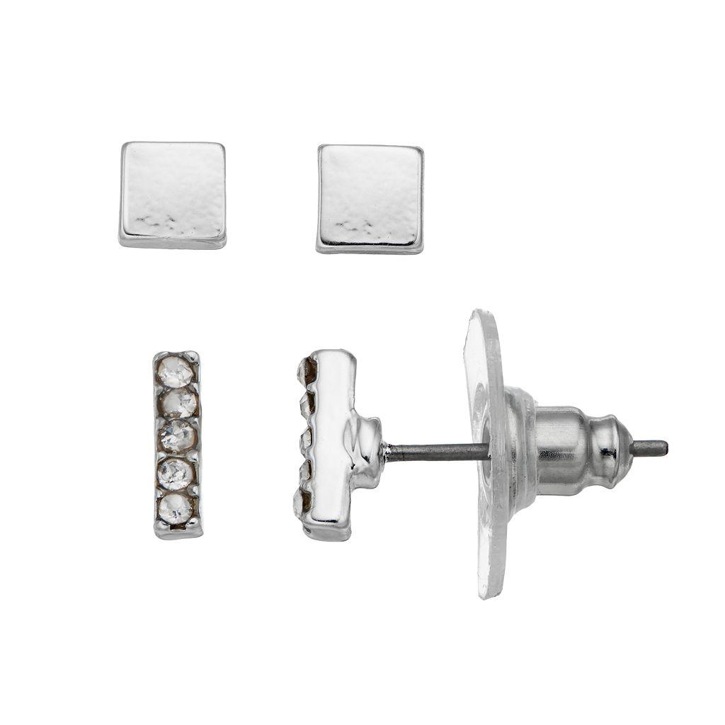 Chaps Bar & Square Nickel Free Stud Earring Set
