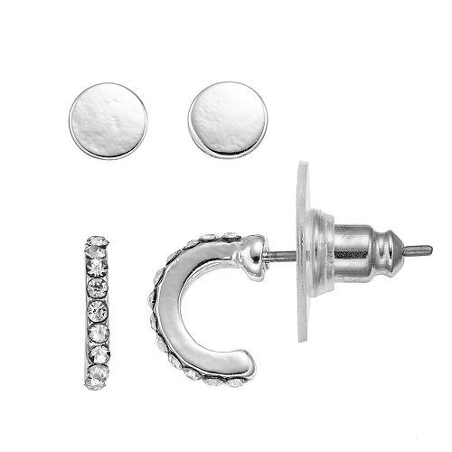 Chaps Nickel Free Round Stud & Half Hoop Earring Set
