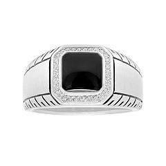 Men's Sterling Silver Onyx & Cubic Zirconia Ring