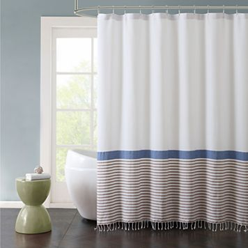 VCNY Hugo Striped Cotton Fringe Shower Curtain