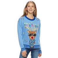 Juniors' It's Our Time Light-Up Hanukkah Sweater