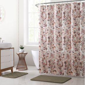 VCNY Daria Floral Shower Curtain & Rug Bath Set