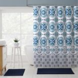 VCNY Medallion Boho Microfiber Shower Curtain