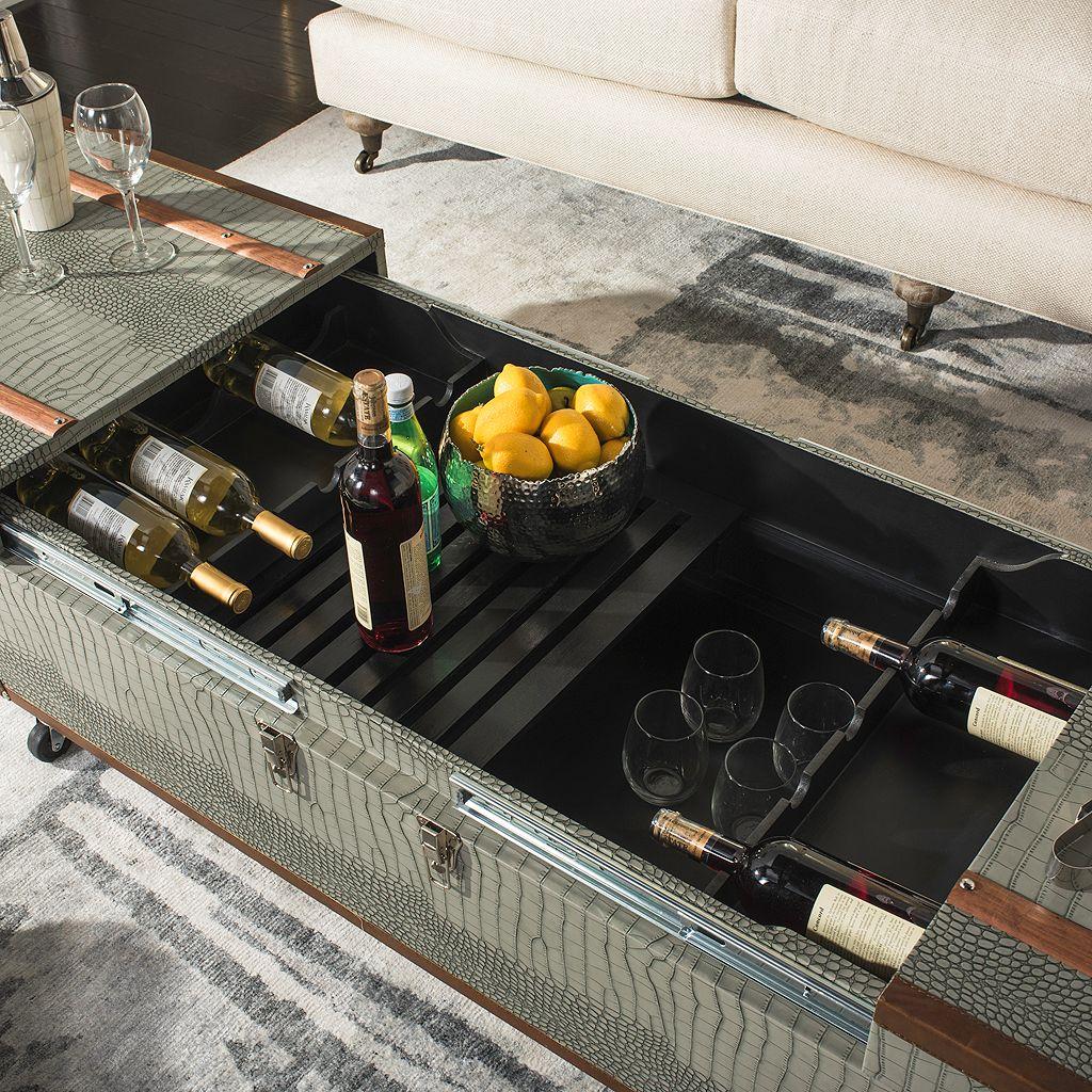 Safavieh Faux-Crocodile Wine Rack Storage Trunk Coffee Table