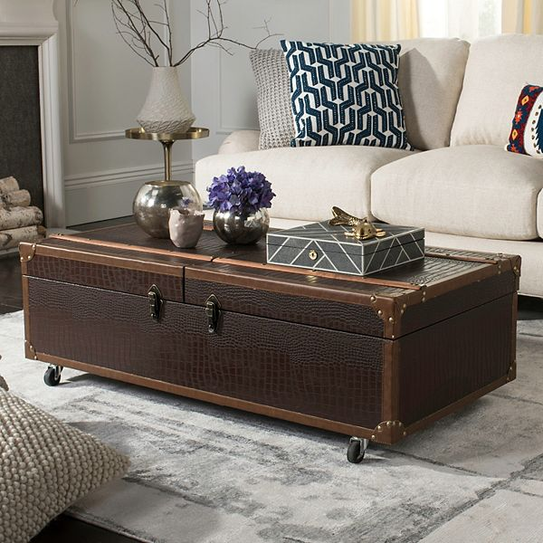 Safavieh Faux Crocodile Wine Rack Storage Trunk Coffee Table