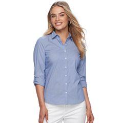 Petite Apt. 9® Poplin Structured Essential Button-Down Shirt