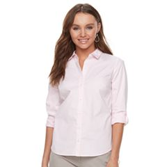 Petite Apt. 9® Poplin Structured Essential Button-Down Shirt