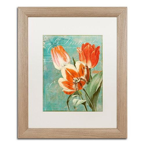Trademark Fine Art Tulips Ablaze II Distressed Framed Wall Art