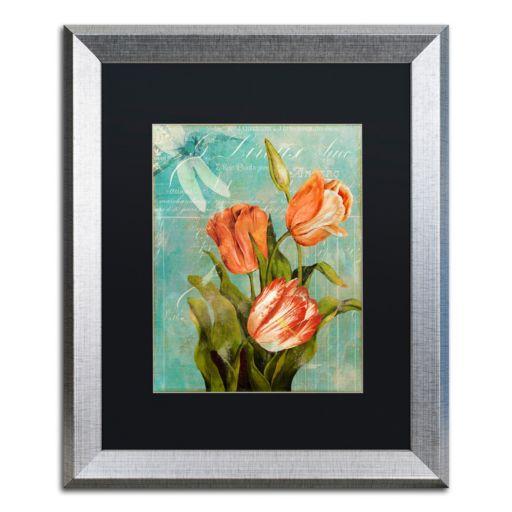 Trademark Fine Art Tulips Ablaze III Silver Finish Framed Wall Art