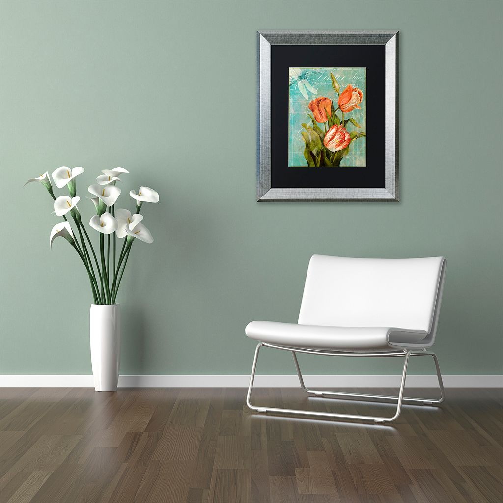 Trademark Fine Art Tulips Ablaze III Silver Finish Framed Wall Art