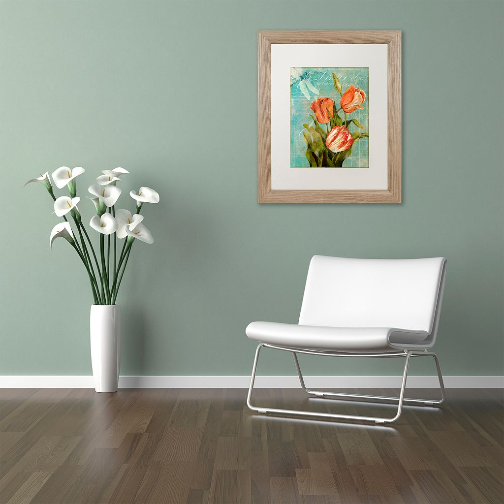 Trademark Fine Art Tulips Ablaze III Distressed Framed Wall Art