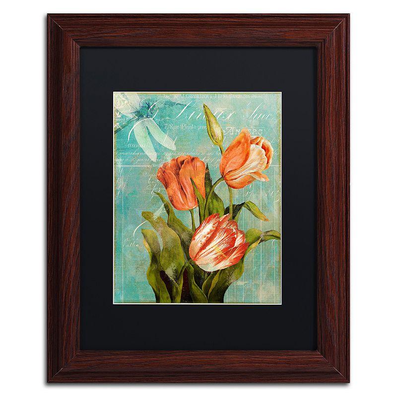 Trademark Fine Art Tulips Ablaze III Framed Wall Art, Black